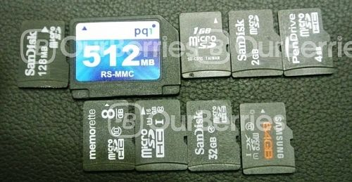 the line of microsd cards of various capacity