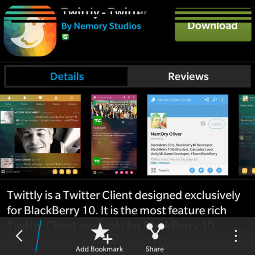 Twittly in BlackBerry World