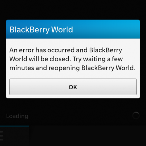 BlackBerry World Error