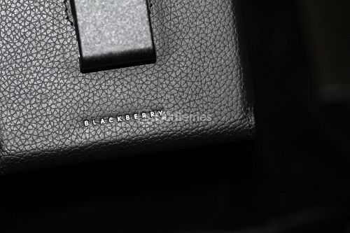 BlackBerry Passport Leather Swivel Holster BlackBerry Wording on the back
