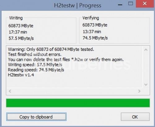 SanDisk Extreme Plus microSDXC UHS-I (64GB) [2014 Edition] h2testw score