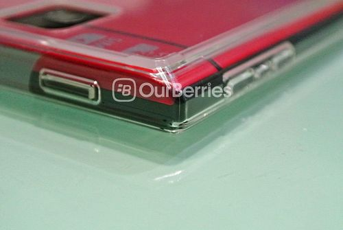 BlackBerry Passport Red in Ringke Fusion Case, top corner
