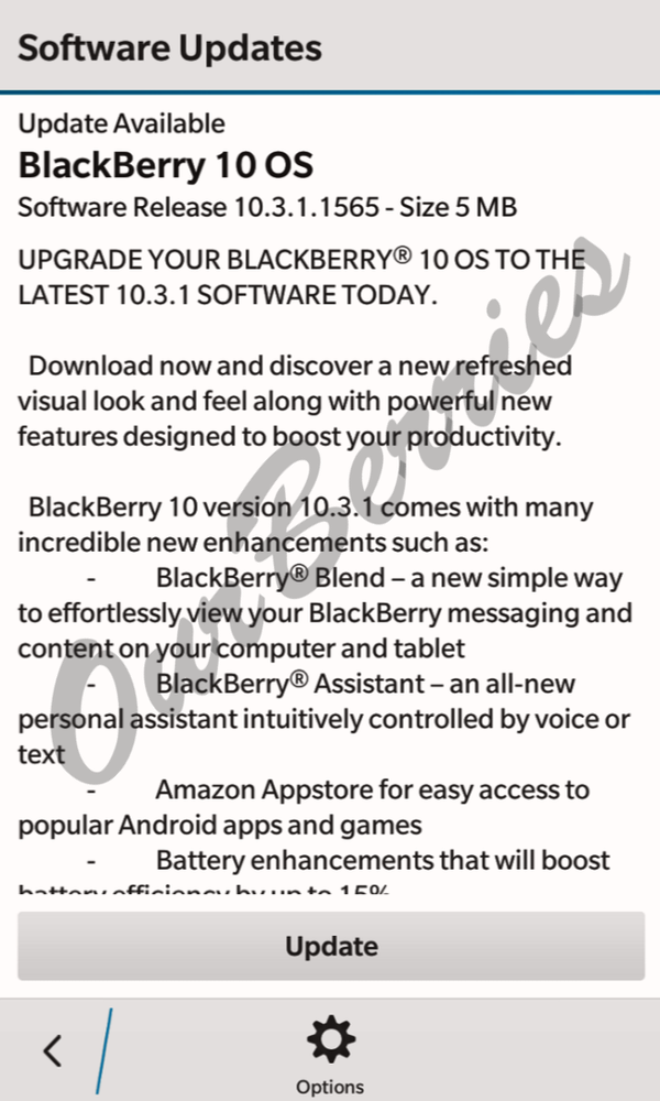 BlackBerry OS 10.3.1 update to Z10