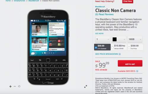 BlackBerry Classic on Verizon