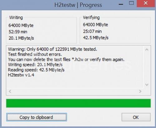 H2testw test for Samsung Evo MicroSD (128GB)