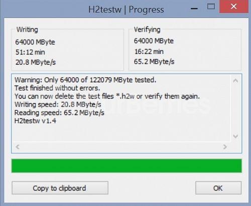 H2testw for Lexar High-Performance UHS-I 633x microSDXC [128GB]