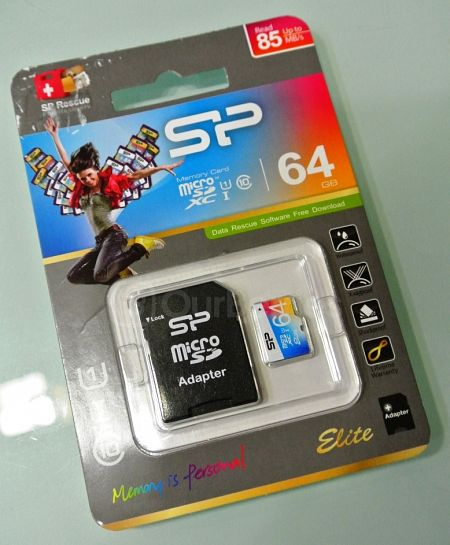 Silicon Power 64GB Elite MicroSDXC Card Retail Packaging Front