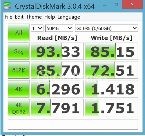CrystalDiskMark test 2 (1 x 50MB) for Strontium Nitro Plus UHS-3 microSD (64GB)
