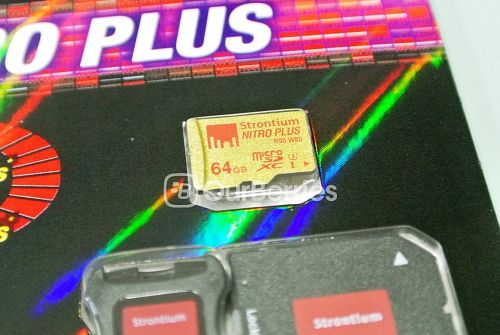 Strontium Nitro Plus UHS-3 microSD (64GB) retail packaging front, zoomed