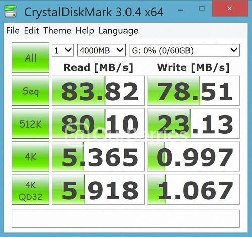 CrystalDiskMark test 1 (1 x 4000MB) for Strontium Nitro Plus UHS-3 microSD (64GB)