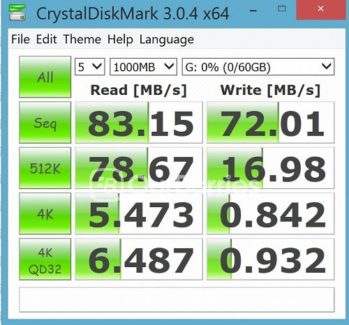 CrystalDiskMark test 3 (5 x 1000MB) for Strontium Nitro Plus UHS-3 microSD (64GB)