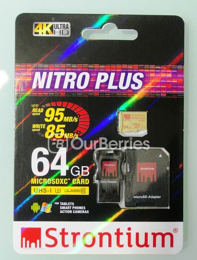 Strontium Nitro Plus UHS-3 microSD (64GB) retail packaging front