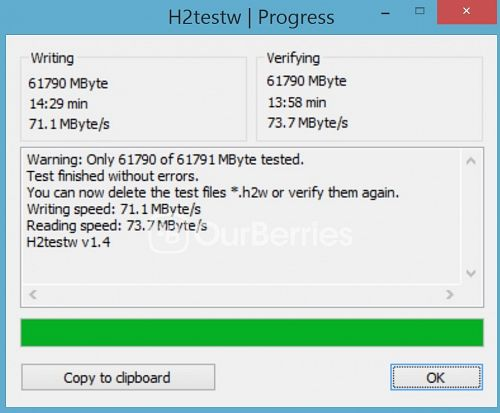 H2TestW test for Strontium Nitro Plus UHS-3 microSD (64GB)
