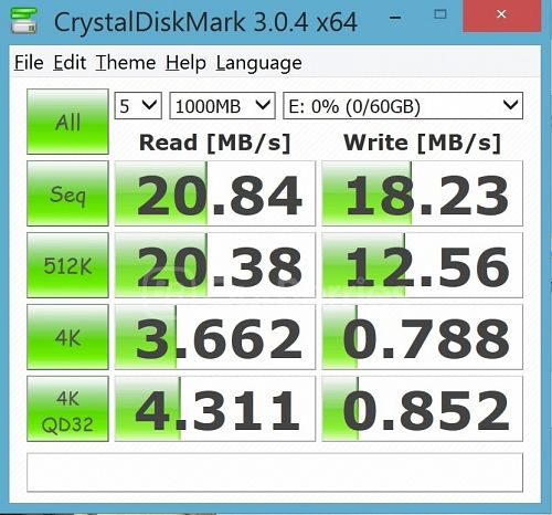 CrystalDiskMark test 3 for Strontium Nitro Plus UHS-3 microSD (64GB) in the supplied MicroSD USB 2.0 adapter