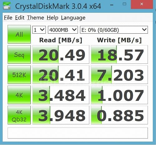 CrystalDiskMark test 1 for Strontium Nitro Plus UHS-3 microSD (64GB) in the supplied MicroSD USB 2.0 adapter