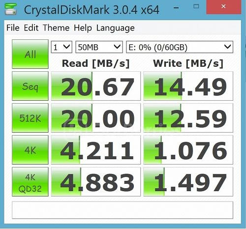CrystalDiskMark test 2 for Strontium Nitro Plus UHS-3 microSD (64GB) in the supplied MicroSD USB 2.0 adapter