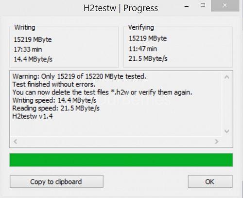 H2TestW for Remax microSD card
