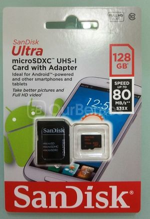 SanDisk Ultra Gen 3 128GB MicroSD Card Retail packaging