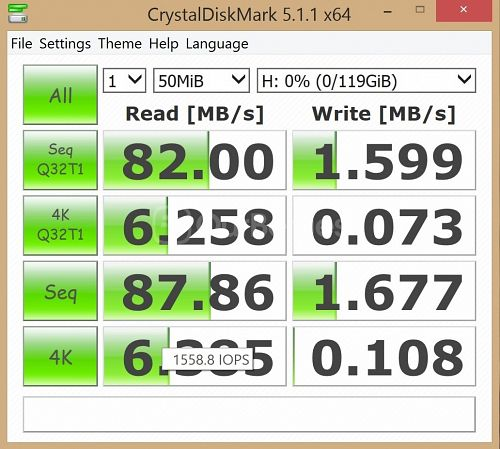 UpdatedCrystalDiskMark Test 2 - 1 x 50MB for Memento EXpert 128GB microSD card