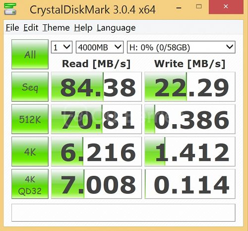 Kingston SDC10G2 microSDXC CrystalDiskMark benchmark 1 - 1 x 4000MB