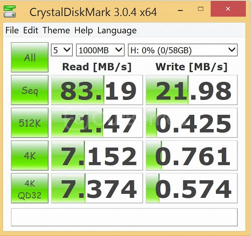 Kingston SDC10G2 microSDXC CrystalDiskMark benchmark 3 - 5 x 1000MB