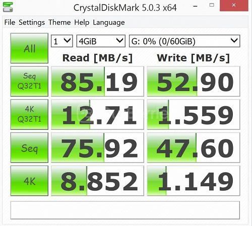 Lexar Professional 1000x MicroSDXC (64GB) latest CrystalDiskMark Test 1 - 1 x 4000MB