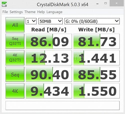 Lexar Professional 1000x MicroSDXC (64GB) latest CrystalDiskMark Test 2 - 1 x 50MB