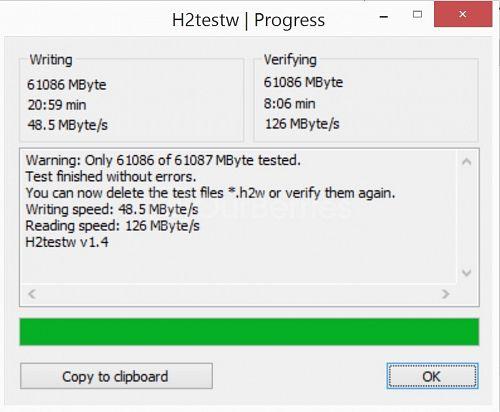 Lexar Professional 1000x MicroSDXC (64GB) UHS-II adapter H2TestW test