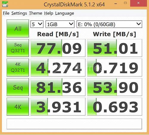 Strontium Nitro MicroSD latest CrystalDiskMark Test 3 - 5 x 1000MB