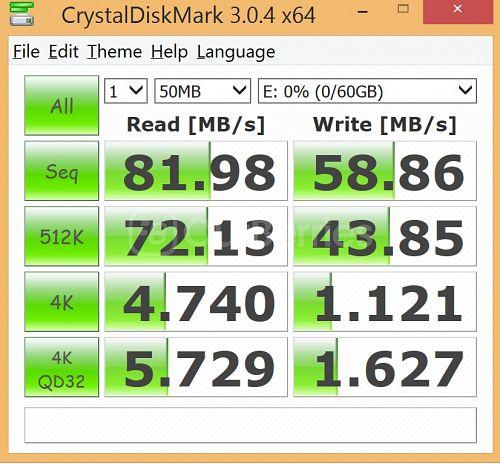 CrystalDiskMark Test 2 for Strontium Nitro MicroSD
