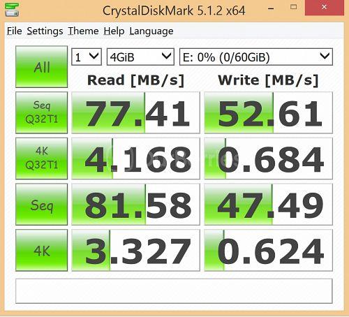 Strontium Nitro MicroSD latest CrystalDiskMark Test 1 - 1 x 4000MB