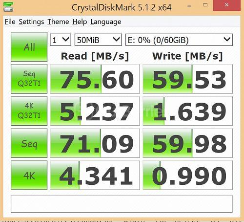 Strontium Nitro MicroSD latest CrystalDiskMark Test 2 - 1 x 50MB