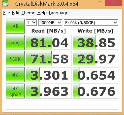 CrystalDiskMark Test 1 for Strontium Nitro MicroSD