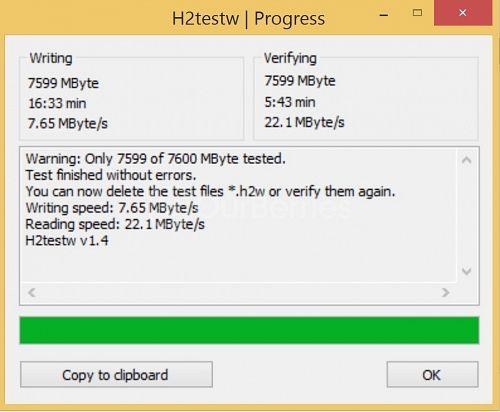 H2testW for Strontium MicroSDHC Card (8GB)