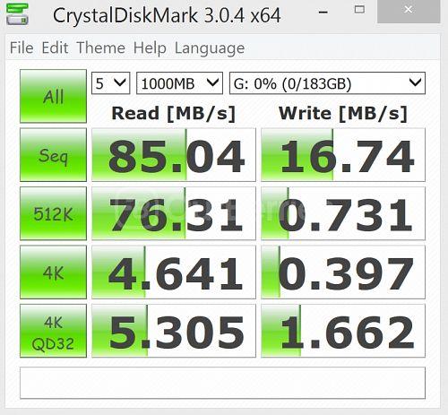 CrystalDiskMark Test 3 (5x1000MB) for SanDisk Ultra 200GB microSD